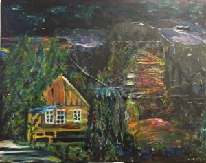 """Cabin in the Woods-Dawn's Moonlight"" -Acrylic"